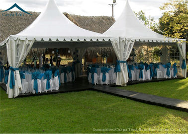 Cina White PVC Small Pagoda Tents For Commercial Activities Wooden Flooring pemasok